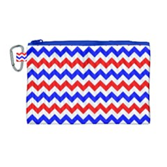 Zig Zag Pattern Canvas Cosmetic Bag (large) by Celenk