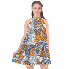 Paisley Pattern Halter Neckline Chiffon Dress