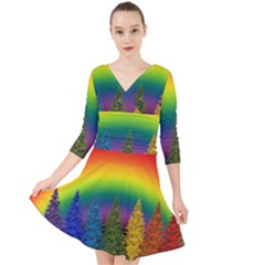 Christmas Colorful Rainbow Colors Quarter Sleeve Front Wrap Dress by Celenk