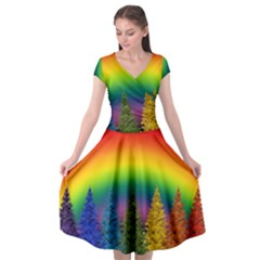 Christmas Colorful Rainbow Colors Cap Sleeve Wrap Front Dress by Celenk