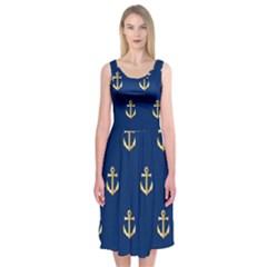 Gold Anchors Background Midi Sleeveless Dress
