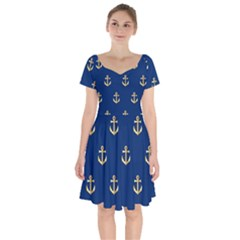 Gold Anchors Background Short Sleeve Bardot Dress by Celenk