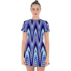 Waves Wavy Blue Pale Cobalt Navy Drop Hem Mini Chiffon Dress