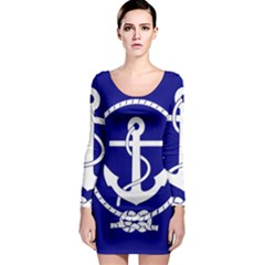 Anchor Flag Blue Background Long Sleeve Bodycon Dress