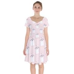 Pattern Cat Pink Cute Sweet Fur Short Sleeve Bardot Dress by Celenk