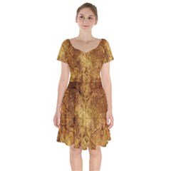 Map Of The World Old Historically Short Sleeve Bardot Dress by Celenk