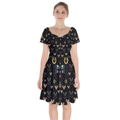 Merry Black Cat In The Night And A Mouse Involved Pop Art Short Sleeve Bardot Dress by pepitasart