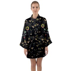Merry Black Cat In The Night And A Mouse Involved Pop Art Long Sleeve Kimono Robe