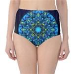Mandala Blue Abstract Circle High-Waist Bikini Bottoms