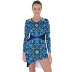 Mandala Blue Abstract Circle Asymmetric Cut-Out Shift Dress