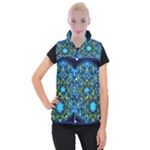 Mandala Blue Abstract Circle Women s Button Up Puffer Vest