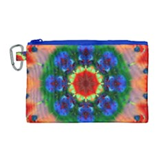 Fractal Digital Mandala Floral Canvas Cosmetic Bag (large) by Celenk