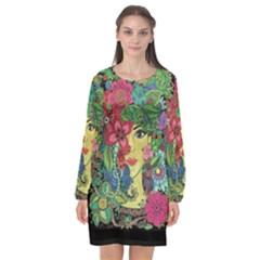 Mandala Figure Nature Girl Long Sleeve Chiffon Shift Dress  by Celenk