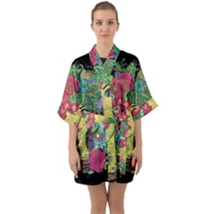 Mandala Figure Nature Girl Quarter Sleeve Kimono Robe by Celenk