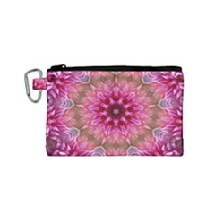 Flower Mandala Art Pink Abstract Canvas Cosmetic Bag (small) by Celenk