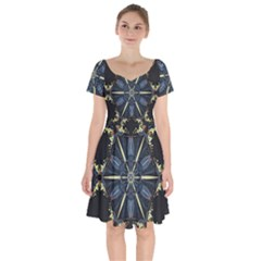 Mandala Butterfly Concentration Short Sleeve Bardot Dress