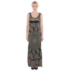 Bird Mandala Spirit Meditation Maxi Thigh Split Dress by Celenk