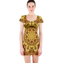 Abstract Antique Art Background Short Sleeve Bodycon Dress