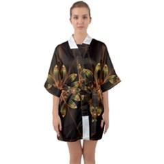 Fractal Floral Mandala Abstract Quarter Sleeve Kimono Robe by Celenk