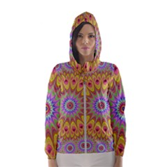Geometric Flower Oriental Ornament Hooded Wind Breaker (women)