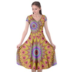 Geometric Flower Oriental Ornament Cap Sleeve Wrap Front Dress