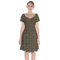 Texture Background Mandala Short Sleeve Bardot Dress
