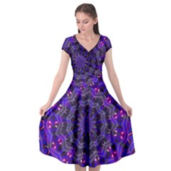 Purple Kaleidoscope Mandala Pattern Cap Sleeve Wrap Front Dress by Celenk