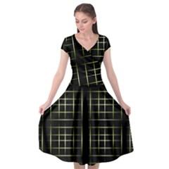 Background Texture Pattern Cap Sleeve Wrap Front Dress