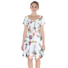 Floral Backdrop Pattern Flower Short Sleeve Bardot Dress