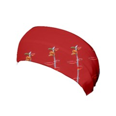 Red Background Paper Plants Yoga Headband by Celenk