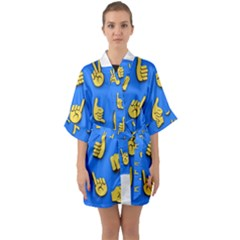 Emojis Hands Fingers Background Quarter Sleeve Kimono Robe by Celenk