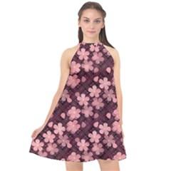 Cherry Blossoms Japanese Style Pink Halter Neckline Chiffon Dress  by Celenk
