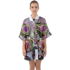 Retro Background Colorful Hippie Quarter Sleeve Kimono Robe by Celenk
