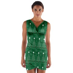 Christmas Tree Holiday Star Wrap Front Bodycon Dress by Celenk