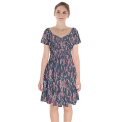 Pattern Flowers Pattern Flowers Short Sleeve Bardot Dress