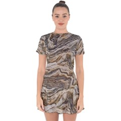 Texture Marble Abstract Pattern Drop Hem Mini Chiffon Dress by Celenk