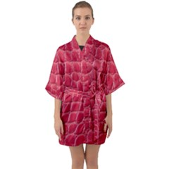 Textile Texture Spotted Fabric Quarter Sleeve Kimono Robe by Celenk