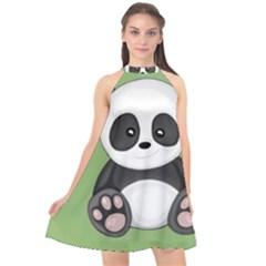 Cute Panda Halter Neckline Chiffon Dress  by Valentinaart