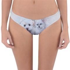 Cat Dog Cute Art Abstract Reversible Hipster Bikini Bottoms by Celenk