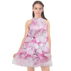 Flower Pink Art Abstract Nature Halter Neckline Chiffon Dress