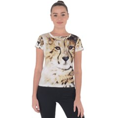 Leopard Animal Art Abstract Short Sleeve Sports Top  by Celenk