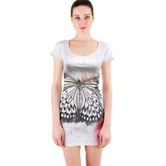 Butterfly Animal Insect Art Short Sleeve Bodycon Dress