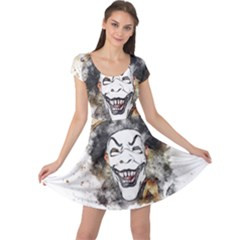 Mask Party Art Abstract Watercolor Cap Sleeve Dress