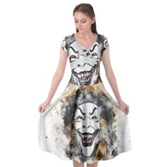 Mask Party Art Abstract Watercolor Cap Sleeve Wrap Front Dress by Celenk