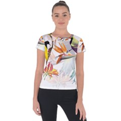 Exotic Birds Of Paradise And Flowers Watercolor Short Sleeve Sports Top  by TKKdesignsCo
