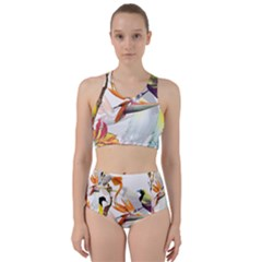 Exotic Birds Of Paradise And Flowers Watercolor Racer Back Bikini Set