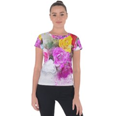 Flowers Bouquet Art Abstract Short Sleeve Sports Top  by Celenk