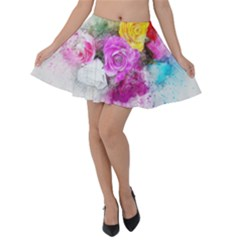 Flowers Bouquet Art Abstract Velvet Skater Skirt by Celenk