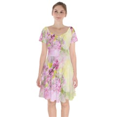 Flowers Pink Art Abstract Nature Short Sleeve Bardot Dress