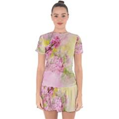 Flowers Pink Art Abstract Nature Drop Hem Mini Chiffon Dress by Celenk